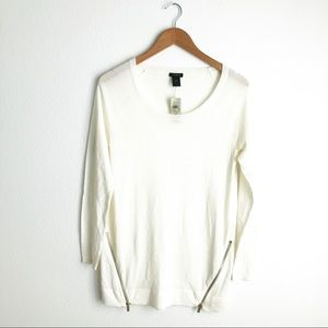 NWT Ann Taylor Cream Zippered Sweater